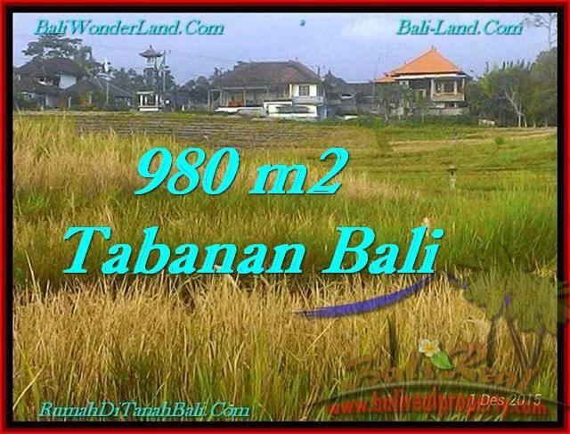 JUAL TANAH MURAH di TABANAN 980 m2 View Sawah dan Laut